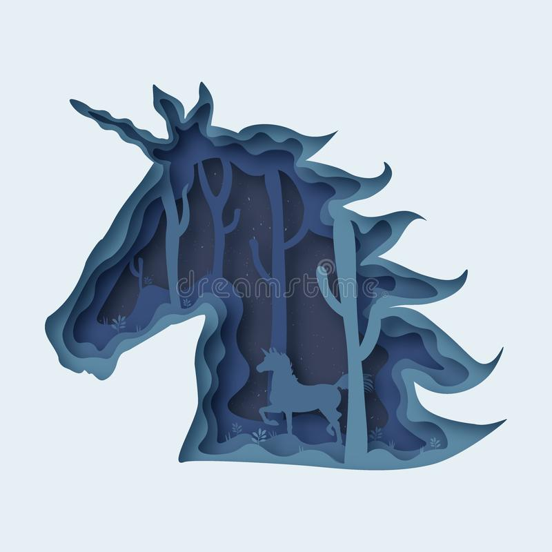 Unicorn abstract paper cut vector eps 10 royalty free illustration