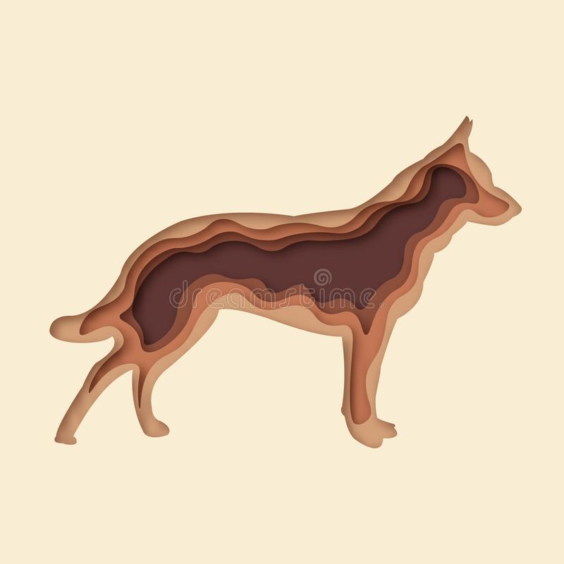 3d abstract dog paper cut vector eps 10 vector illustration