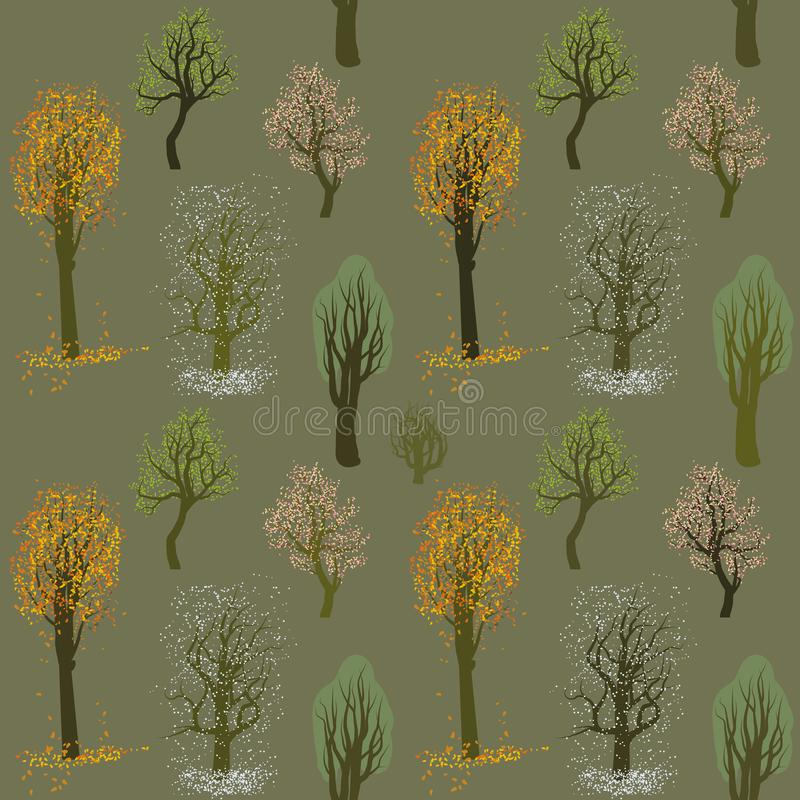 Seamless vector pattern with flowers during different weather seasons vector illustration