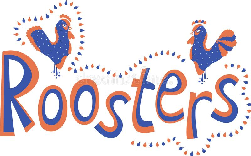 The inscription `Roosters` with two abstract roosters and a contour of droplets in red and blue colors on a white background. Vector stock illustration