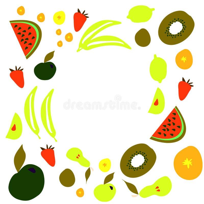 Fruit and vegetables illustration frame for you royalty free illustration