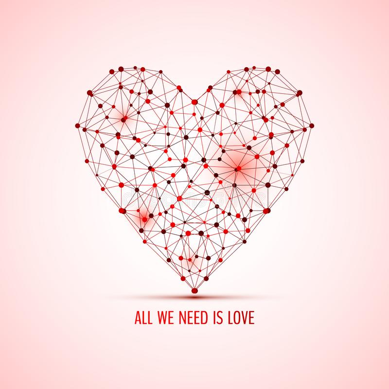 Red polygon heart stock images