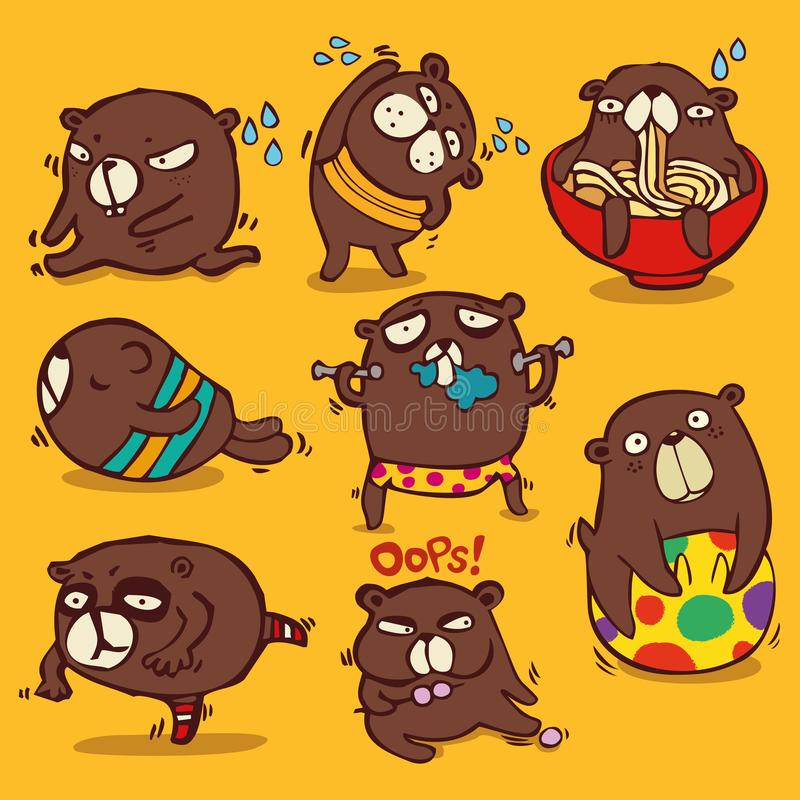Vector cartoon style, brown bear character, Different emotions and activities to diet Isolated on color background. Nkid, cute, exercise, diet, healthy life vector illustration