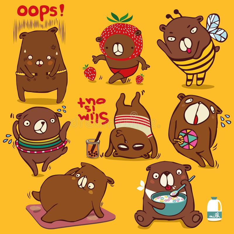 Vector cartoon style, brown bear character, Different funny emotions and activities to diet Isolated on color background.  stock illustration