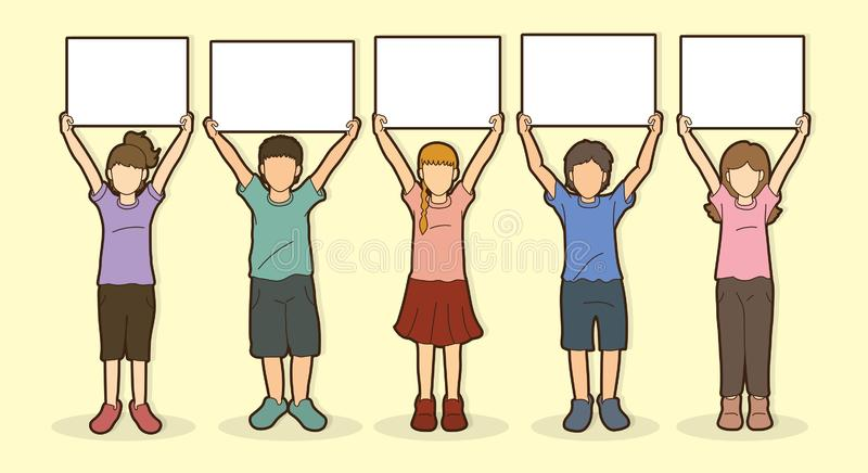 Children with sign board graphic vector illustration