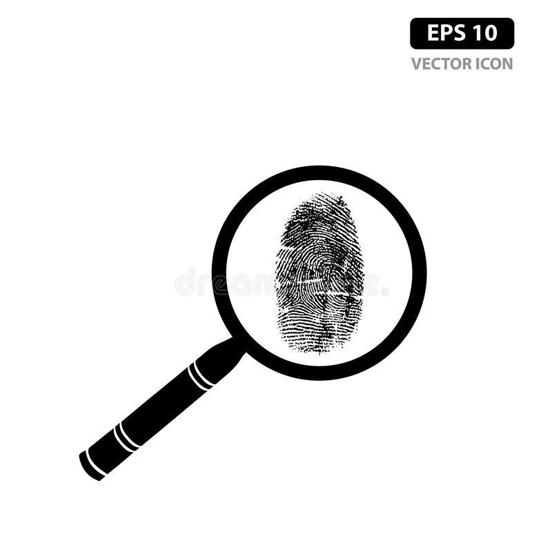 Fingerprint with magnifying glass icon vector identification vector illustration