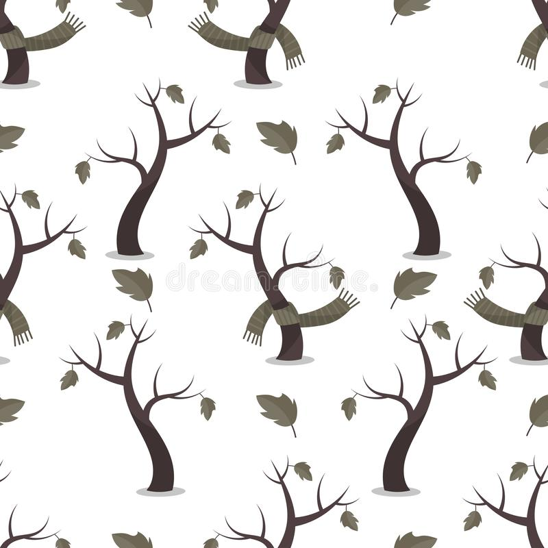 Seamless Scandinavian pattern with trees in green scarves in cartoon style. royalty free illustration