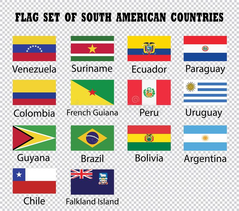 Flag set of South American Countries stock illustration