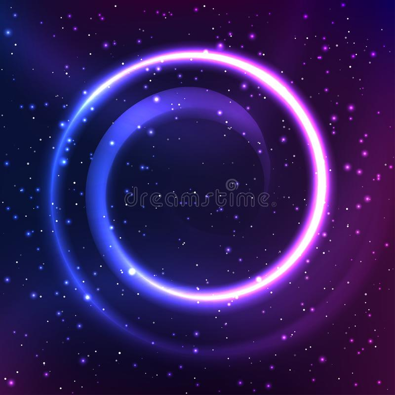Night starry sky with spiral element royalty free stock photo
