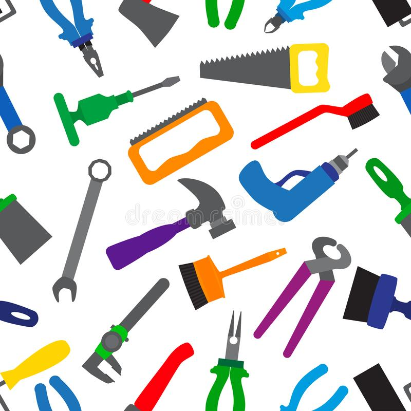Seamless pattern with instruments and tools. Colorful repair tools repetitive pattern. vector illustration for your graphic design royalty free illustration