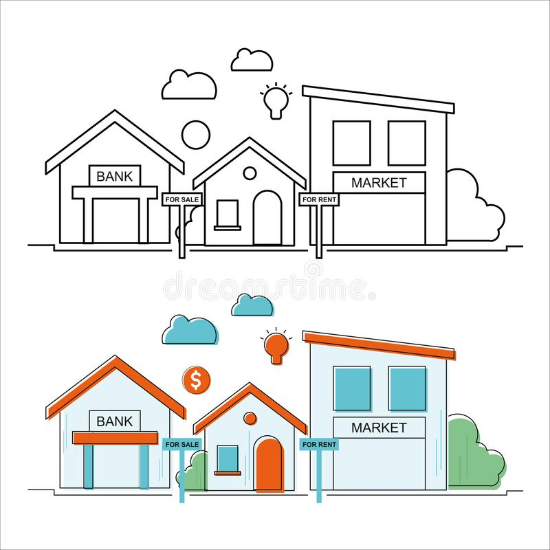 Home Property Vector Image. Outline. EPS file Available. Property on sale. Bank Market sale rent light cloud dollar stock illustration