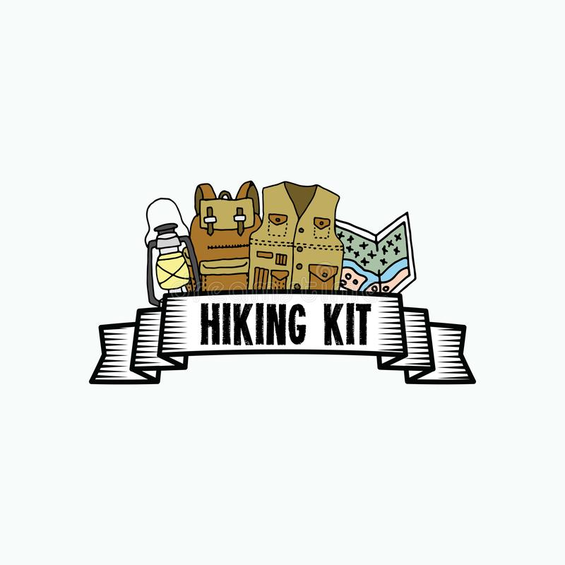 Sets of hiking hand drawn template vector illustration