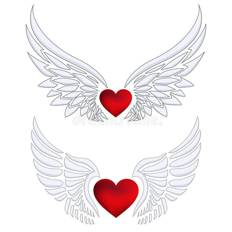 Set of Red heart with angel wings. Illustration of Set of Red heart with angel wings stock illustration