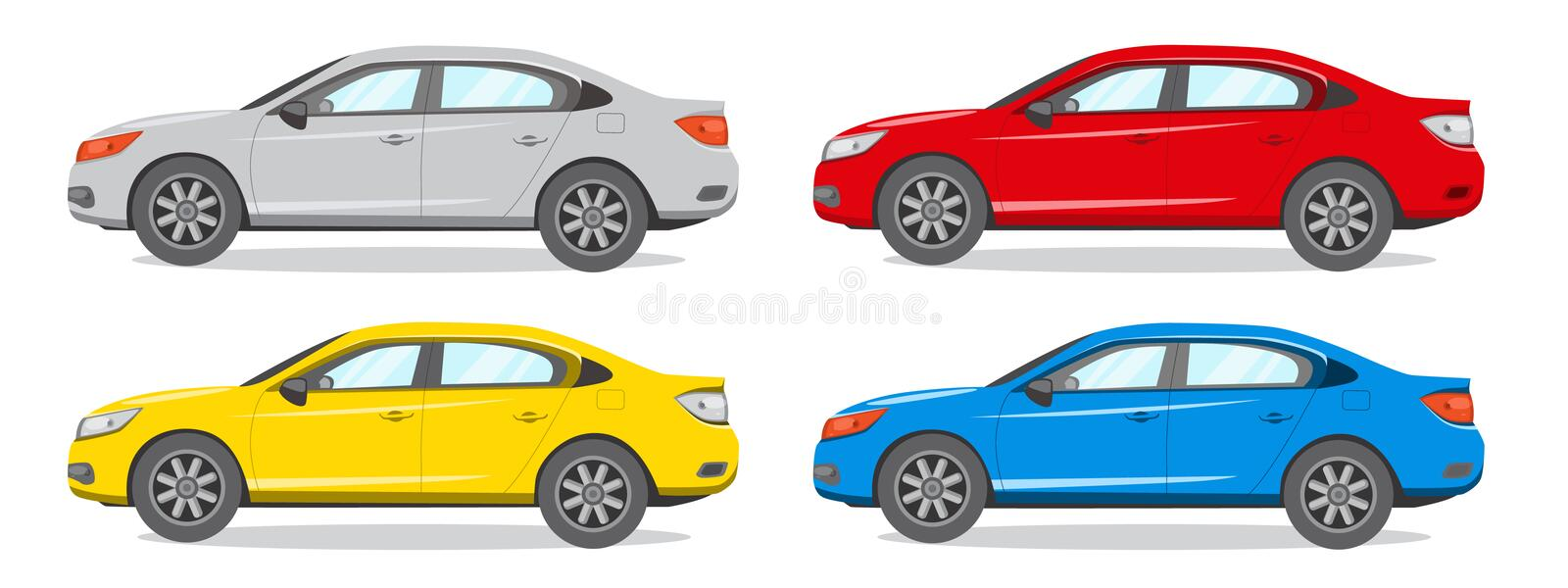 Sedan Different Color Vector Illustration. Car Icon. These are four pictures of sedan cars with different colors. there are red, yellow, blue and gray royalty free illustration