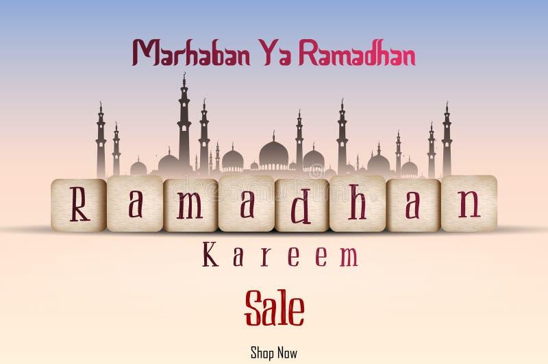 Ramadan Kareem sale with line mosque and lantern vector illustration
