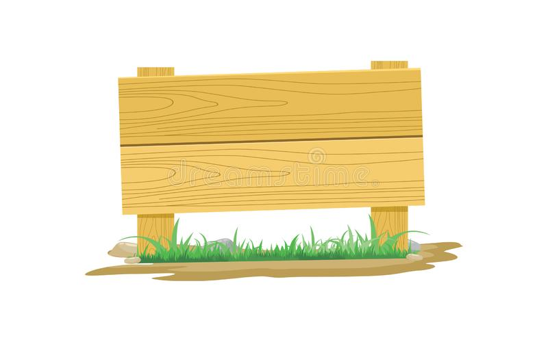 Wooden Board Icon With Grass And Stone Vector Illustration royalty free illustration