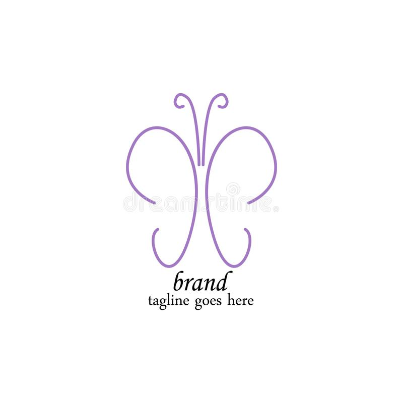 Luxurious purple butterfly logo template royalty free illustration