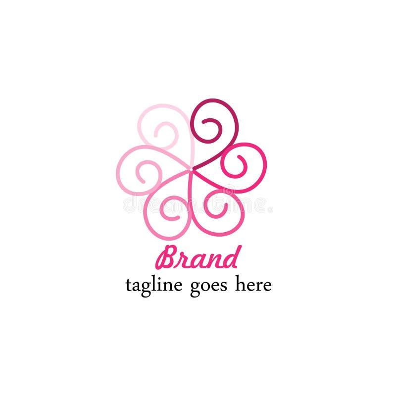 Simple purple circle plant template logo stock illustration
