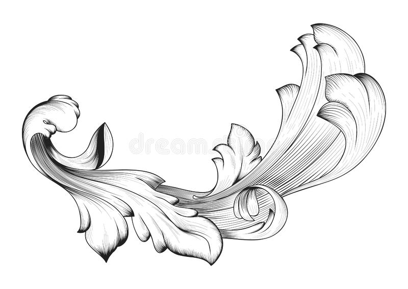 Vintage baroque frame scroll ornament engraving border floral retro pattern antique style acanthus foliage swirl decorative. Design element filigree calligraphy stock illustration