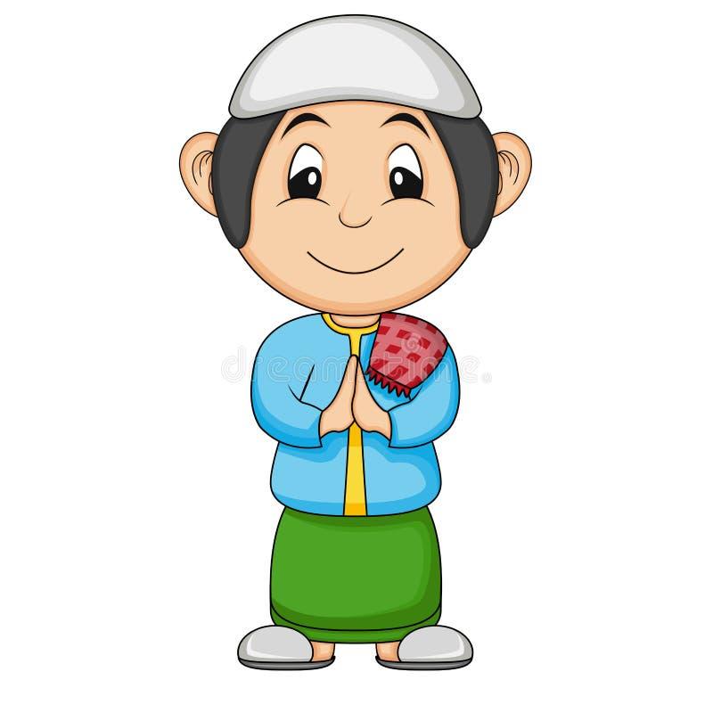 Muslim boy cartoon vector illustration stock illustration