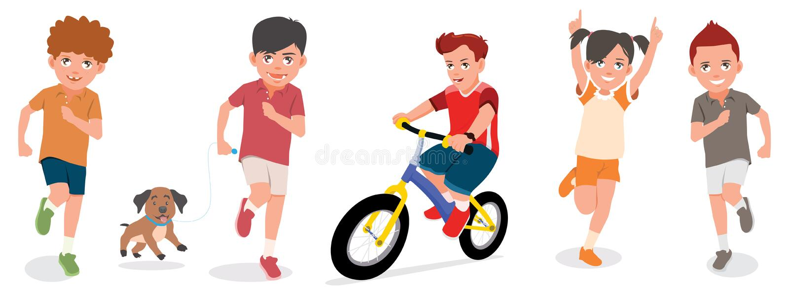 Set Of Children Play With Cheerful Faces Vector Illustration stock illustration