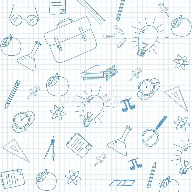 Sketchy Notebook Doodles On Graph Paper Stock Vector
