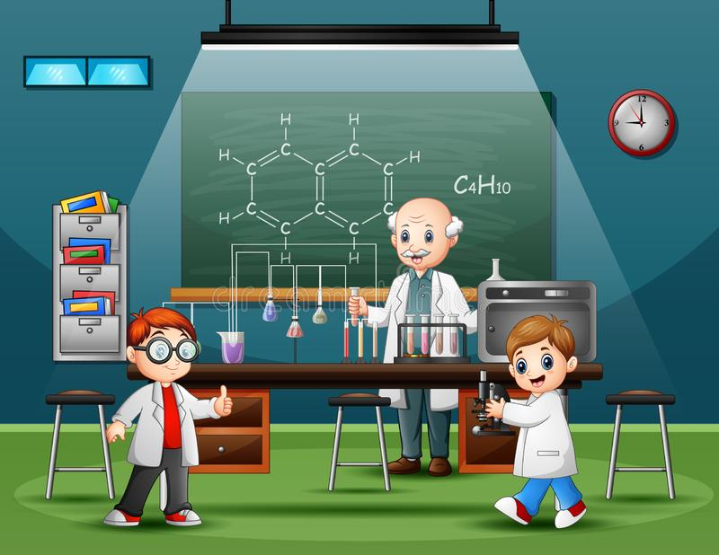 Scientist male in the laboratory room with childrens vector illustration