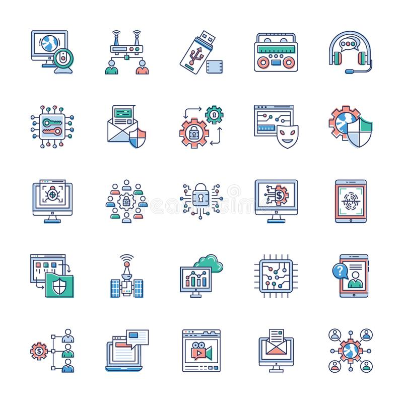 Collection Of Modern Technology Icons stock illustration
