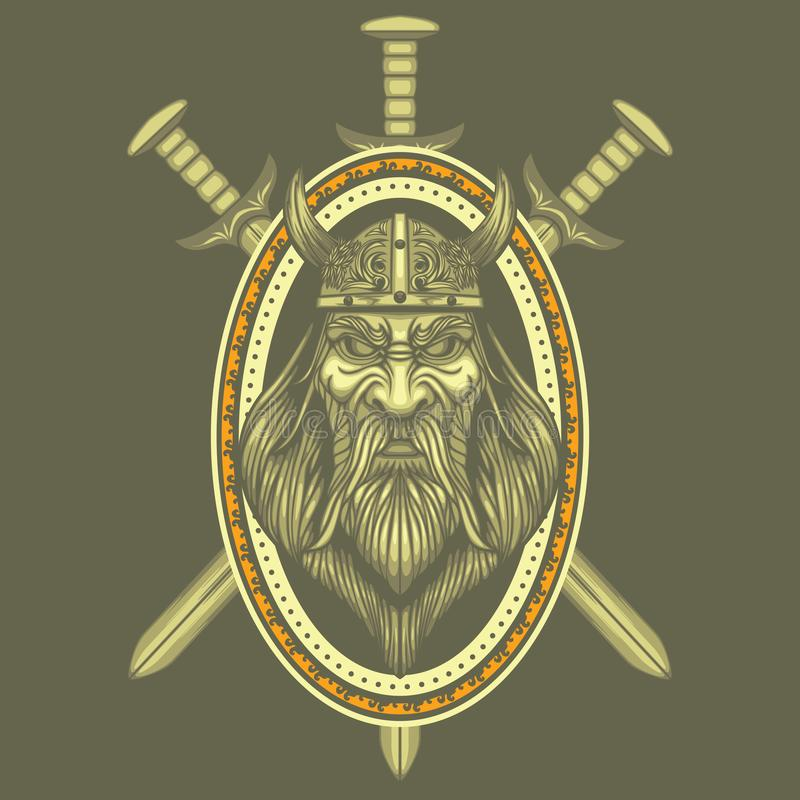 Viking Swords vector Medieval Crest Coat Arms Warrior Ancient Barbarian royalty free illustration
