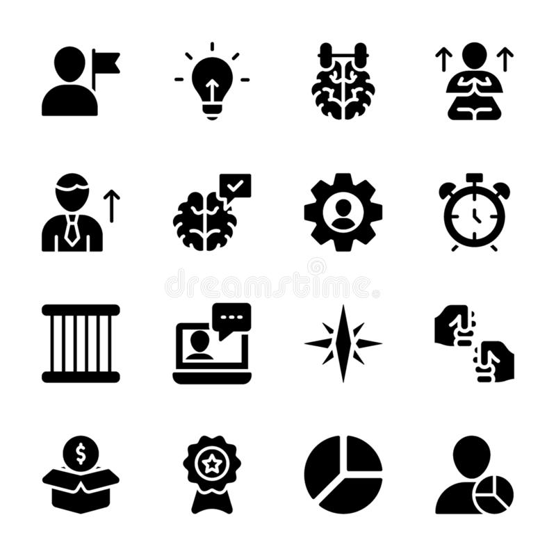Personal Quality, Employee Management Solid Vectors Pack royalty free illustration