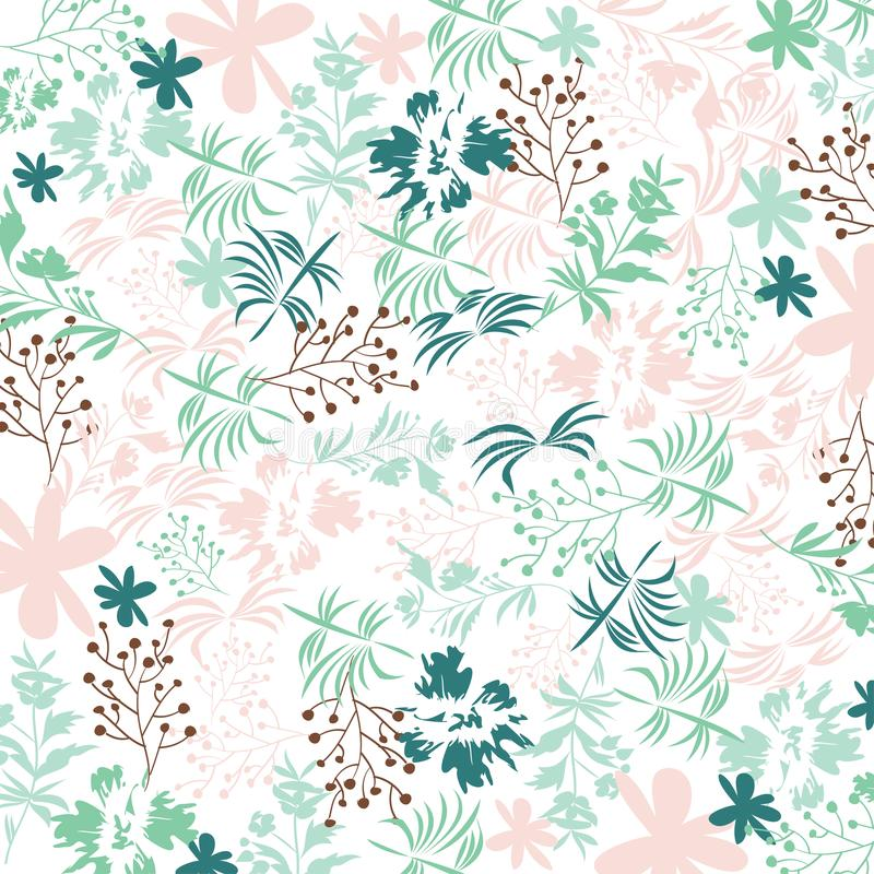 Cute floral pattern in shabby chic style. Vector flower background in fresh colors royalty free illustration