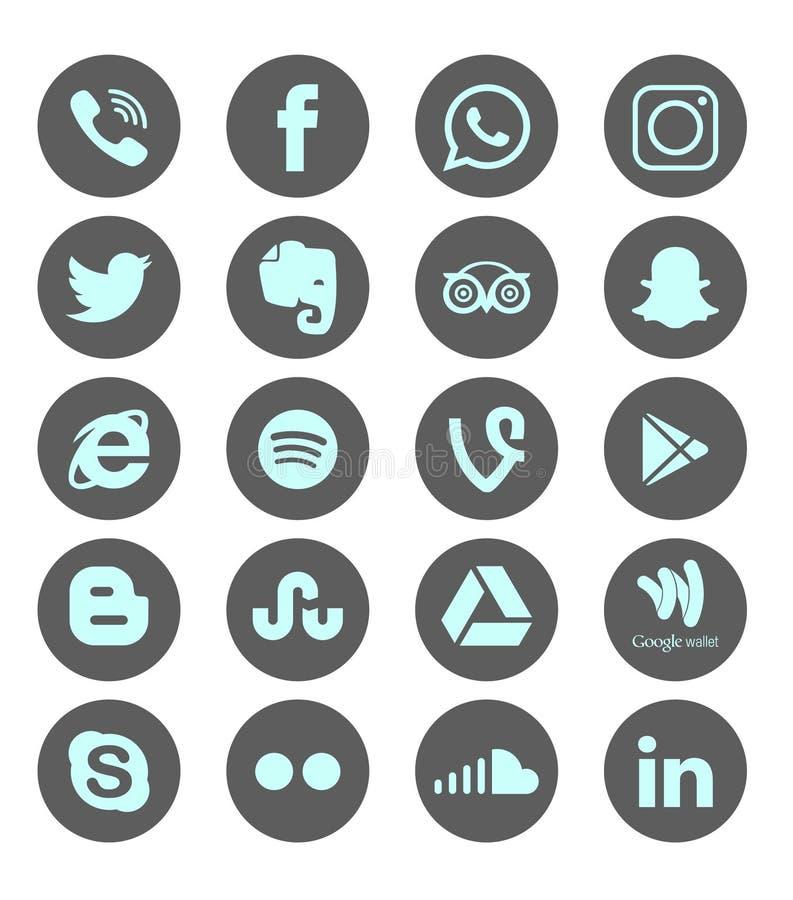 Set of popular social media logos, icons facebook instagram twitter whatsapp stock illustration