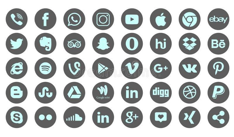 Set of popular social media logos, icons facebook instagram twitter whatsapp. Set popular social media logos icons facebook ins instagram facebook twitter royalty free illustration