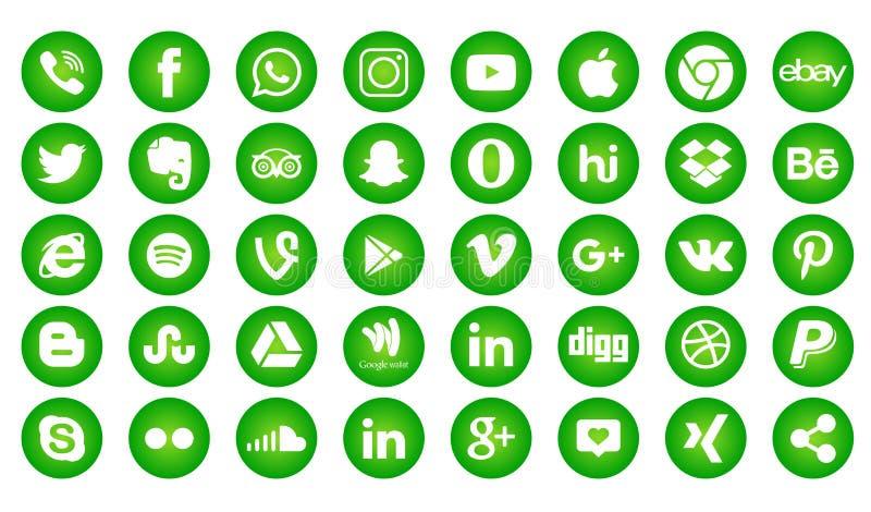 Set of popular social media logos, icons facebook instagram twitter whatsapp. Set popular social media logos icons facebook ins instagram facebook twitter vector illustration