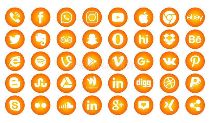 Set of popular social media logos, icons facebook instagram twitter whatsapp. Set popular social media logos icons facebook ins instagram facebook twitter stock illustration