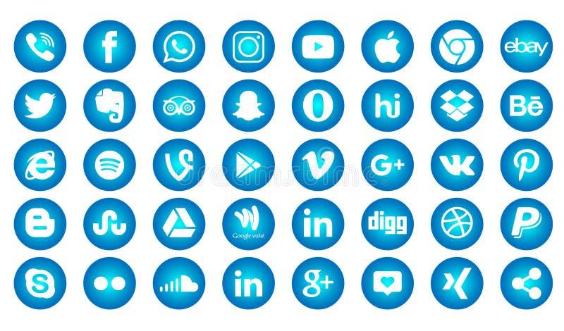 Set of popular social media logos, icons facebook instagram twitter youtube whatsapp. Set popular social media logos icons facebook ins instagram facebook vector illustration