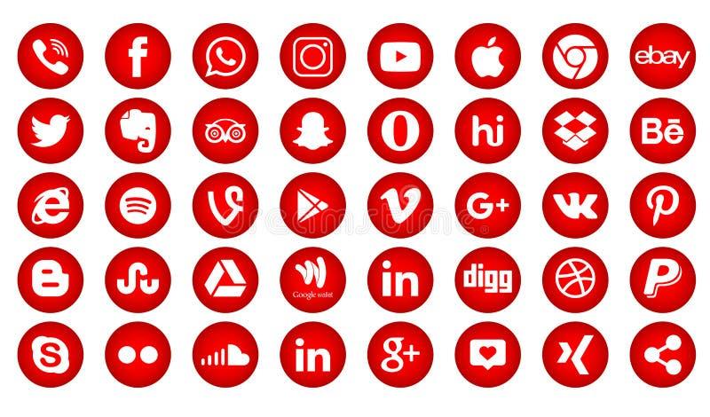 Set of popular social media logos, icons facebook instagram twitter youtube whatsapp. Set popular social media logos icons facebook ins instagram facebook stock illustration