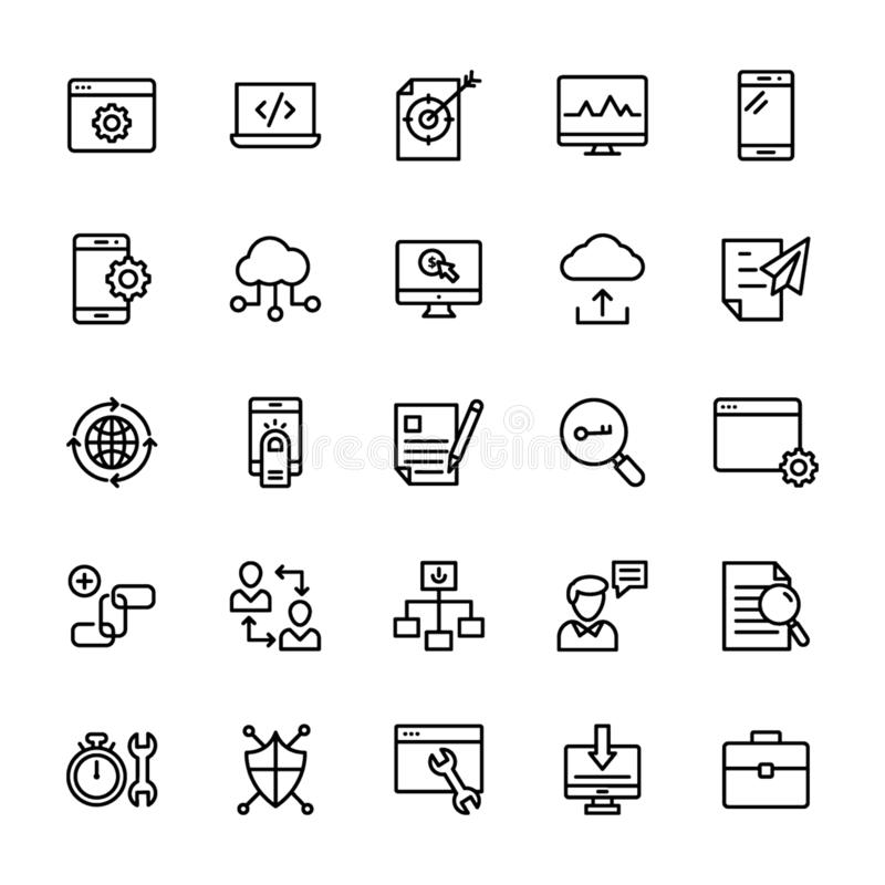 Seo and Web Line Icons Pack vector illustration