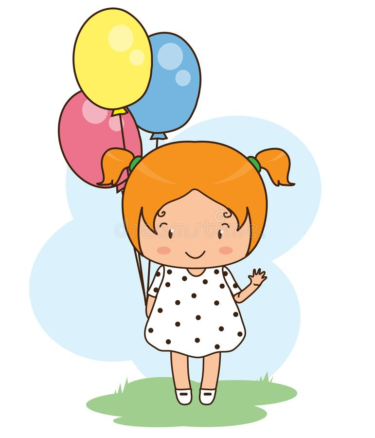 Little girl with balloons on a blue background. vector illustration