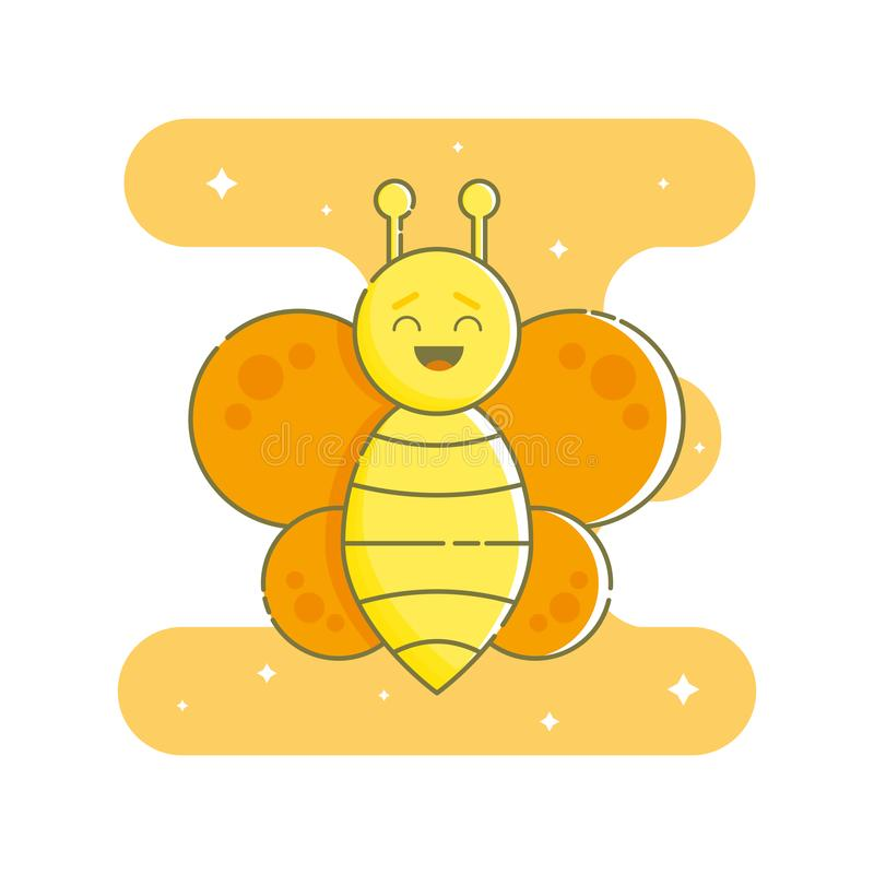 Laughing butterfly on the orange blob in flat linear style. stock illustration