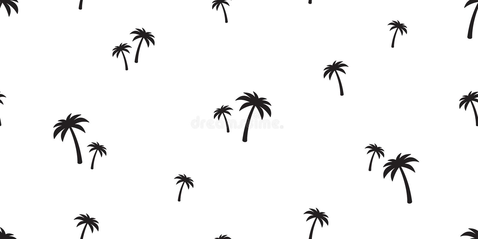 Palm tree seamless pattern  coconut tree island tropical summer beach tile background scarf isolated repeat wallpaper ocean stock illustration