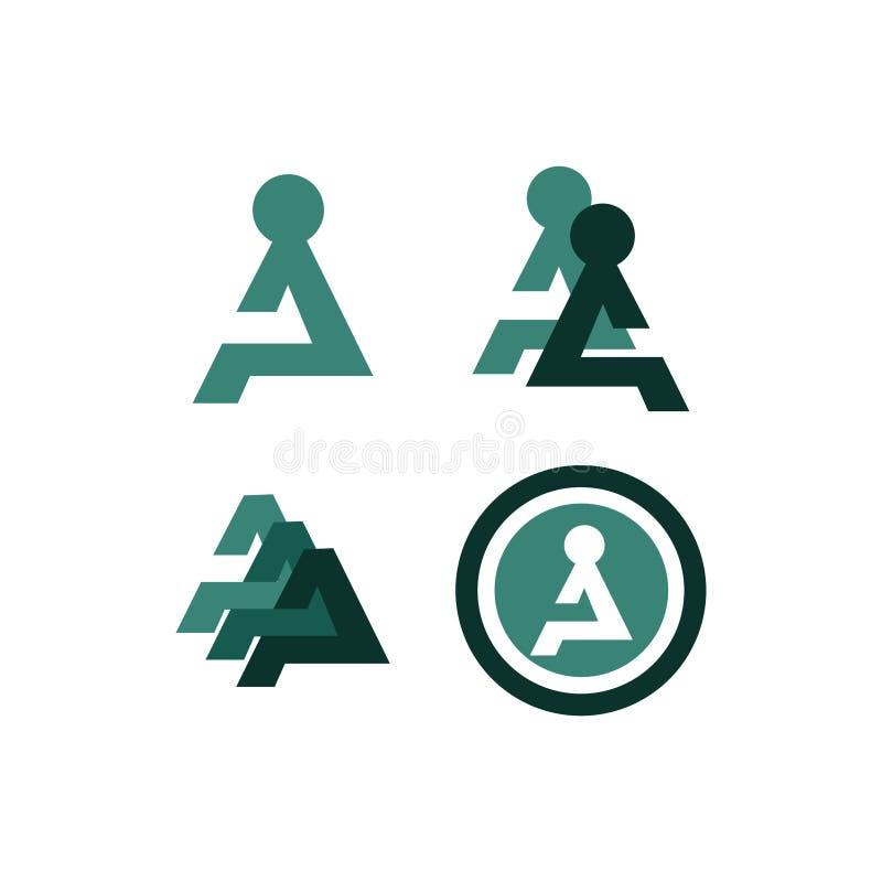 Bundle of A people sign symbol logo concept stock illustration