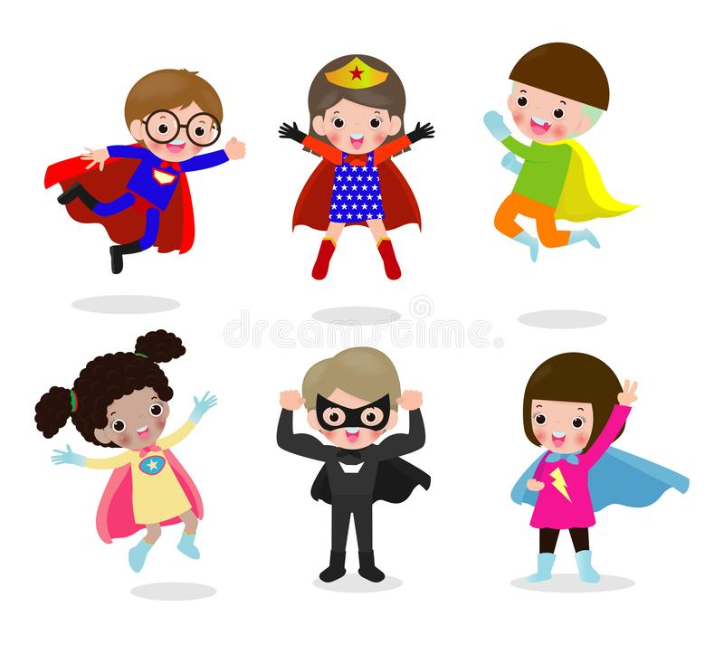 Cartoon set of Kids Superheroes wearing comics costumes, children With Super hero Costumes set, child in Superhero costume. Characters isolated on white stock illustration
