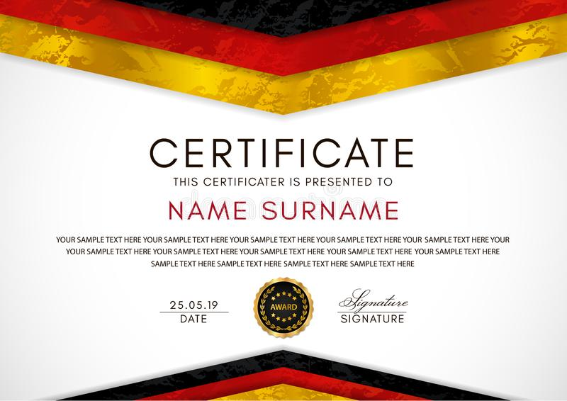 Certificate template with German flag black, red, yellow colors frame and gold badge royalty free illustration