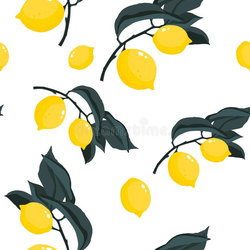 Tropic summer seamless pattern with lemons branches. stock illustration