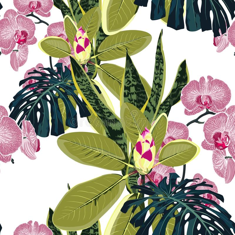 Seamless pattern with pink orchid flowers branch and many kind of exotic plants and palm monstera leaves. vector illustration