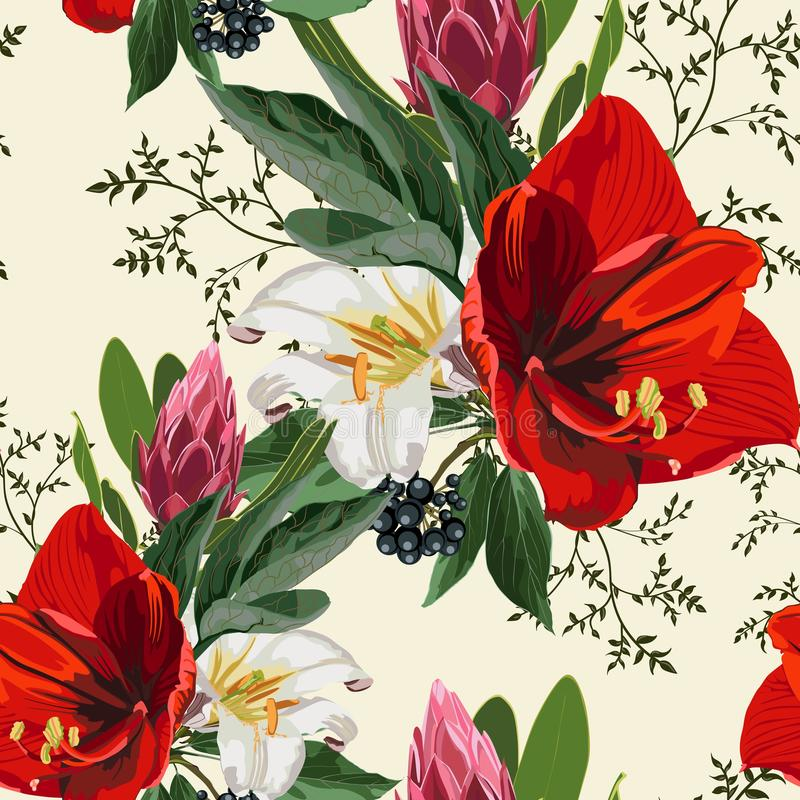 Seamless pattern with red lilies, protea, berries and herbs, flowers and leaves on light background. vector illustration
