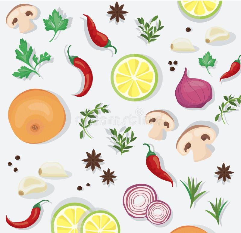 Spice and vegetable foods background vector illustration EPS10.  vector illustration