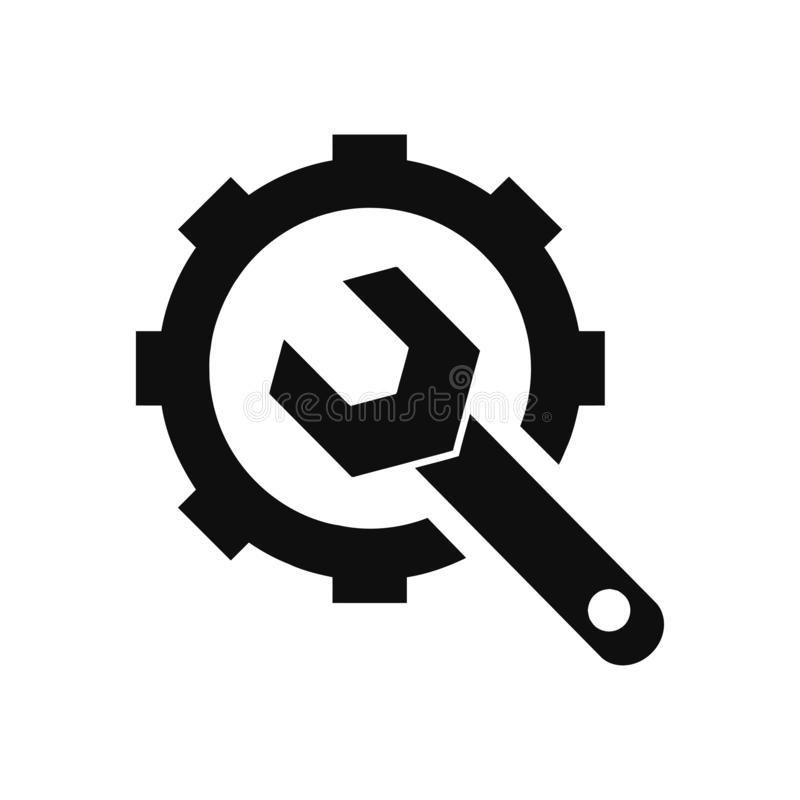 Spanner, repair, hammer, wrench, industry, construction, screwdriver, equipment, service, maintenance, ax, gear, work tool icon. Work spanner repair fork hammer royalty free illustration