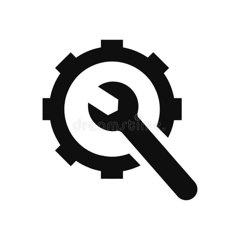 Spanner, repair, hammer, wrench, industry, construction, screwdriver, equipment, service, maintenance, ax, gear, work tool icon. Work spanner repair fork hammer stock illustration